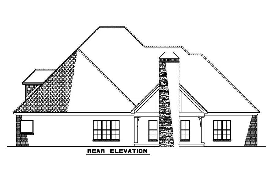 Home Plan Rear Elevation of this 4-Bedroom,2556 Sq Ft Plan -193-1063