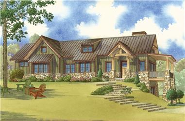 Color rendering of Arts and Crafts home plan (ThePlanCollection: House Plan #193-1064)