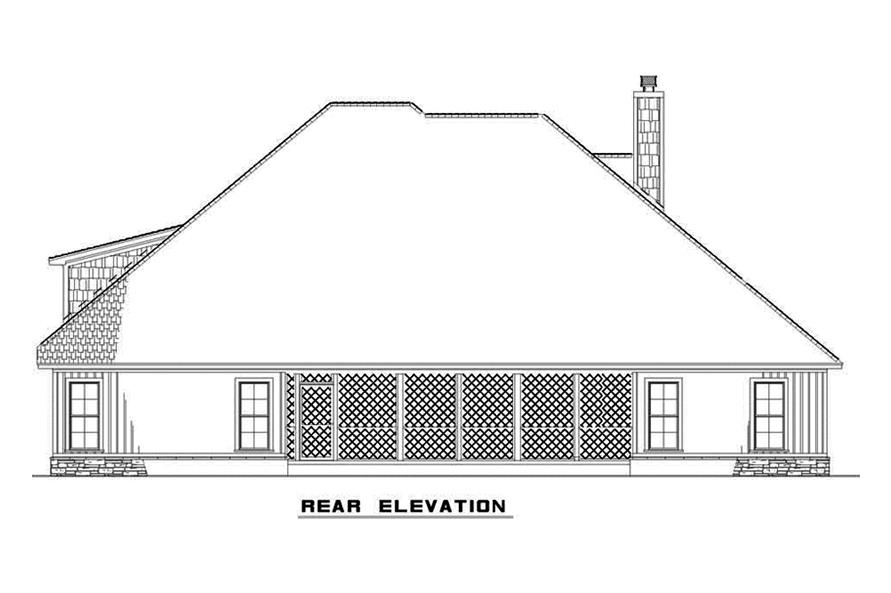 Home Plan Rear Elevation of this 4-Bedroom,2646 Sq Ft Plan -193-1071