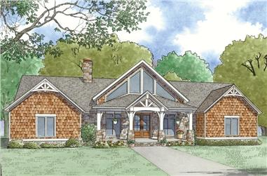 Front elevation of Ranch home (ThePlanCollection: House Plan #193-1078)