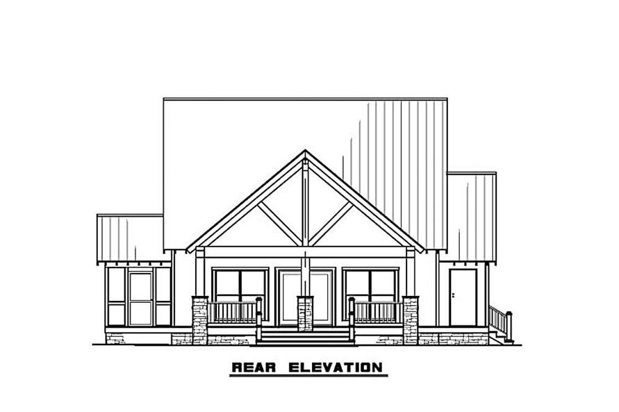 Home Plan Rear Elevation of this 3-Bedroom,2144 Sq Ft Plan -193-1082