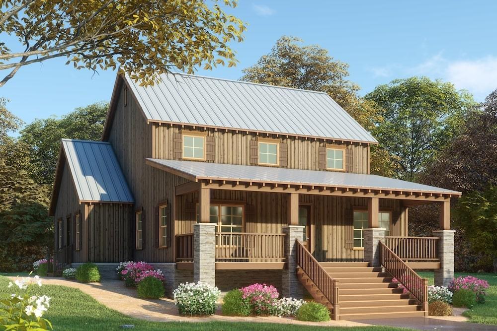 Farmhouse home (ThePlanCollection: Plan #193-1082)