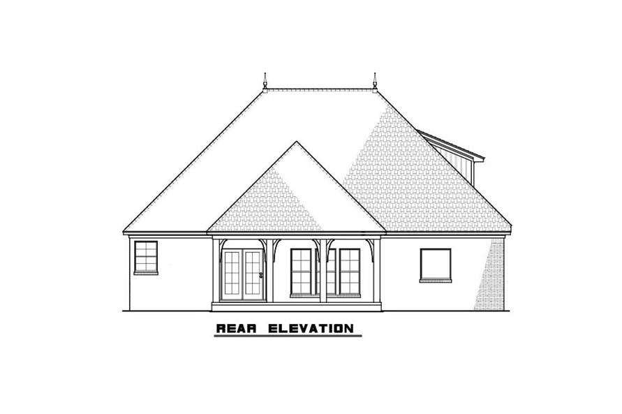 Home Plan Rear Elevation of this 3-Bedroom,1786 Sq Ft Plan -193-1084