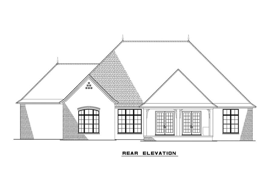 Home Plan Rear Elevation of this 3-Bedroom,2409 Sq Ft Plan -193-1086