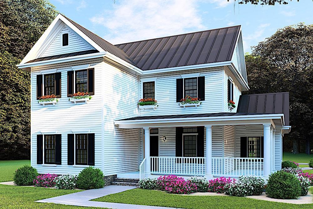 Farmhouse home (ThePlanCollection: Plan #193-1088)