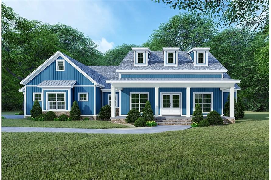 193-1106: Home Plan Front Elevation Blue