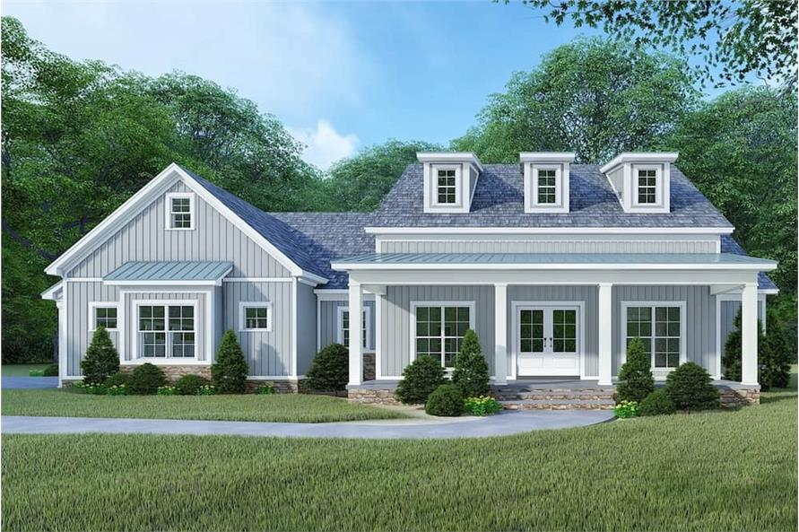 193-1106: Home Plan Front Elevation Gray
