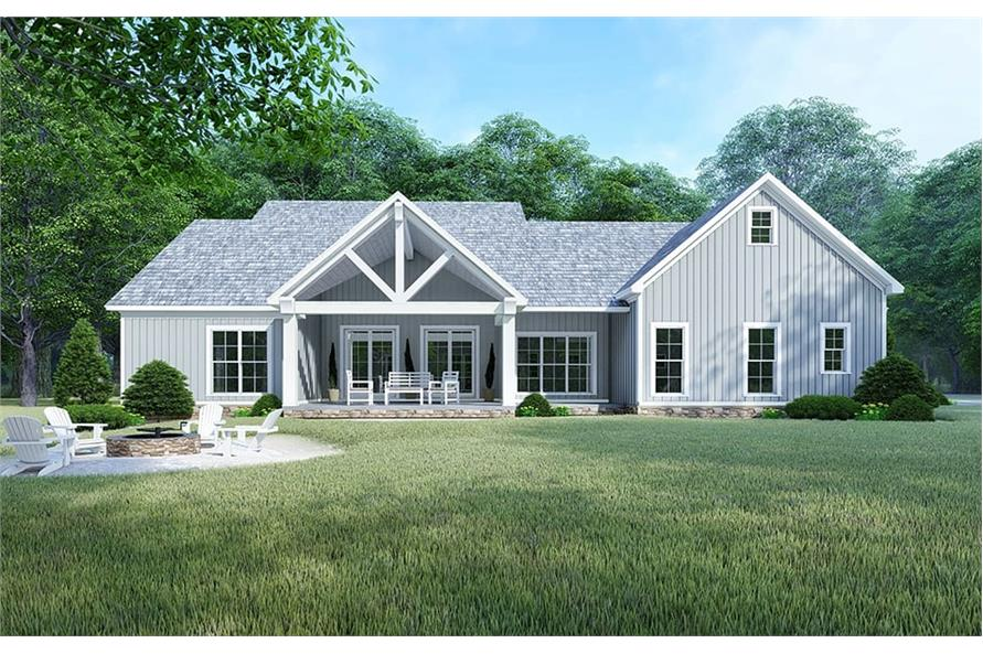 Home Plan Rear Elevation of this 4-Bedroom,2220 Sq Ft Plan -193-1106