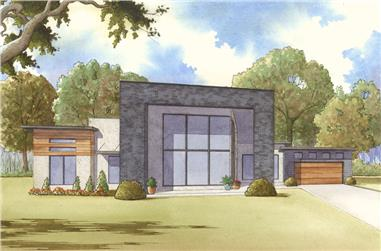 3-Bedroom, 2154 Sq Ft Contemporary Home Plan - 193-1112 - Main Exterior