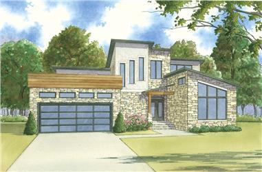 3-Bedroom, 2470 Sq Ft Contemporary House Plan - 193-1116 - Front Exterior