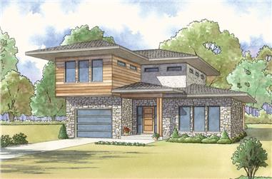 3-Bedroom, 1806 Sq Ft Contemporary House Plan - 193-1117 - Front Exterior