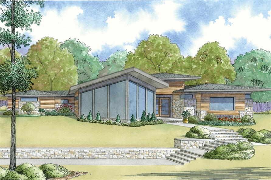 4-Bedroom, 3447 Sq Ft Contemporary House - Plan #193-1121 - Front Exterior