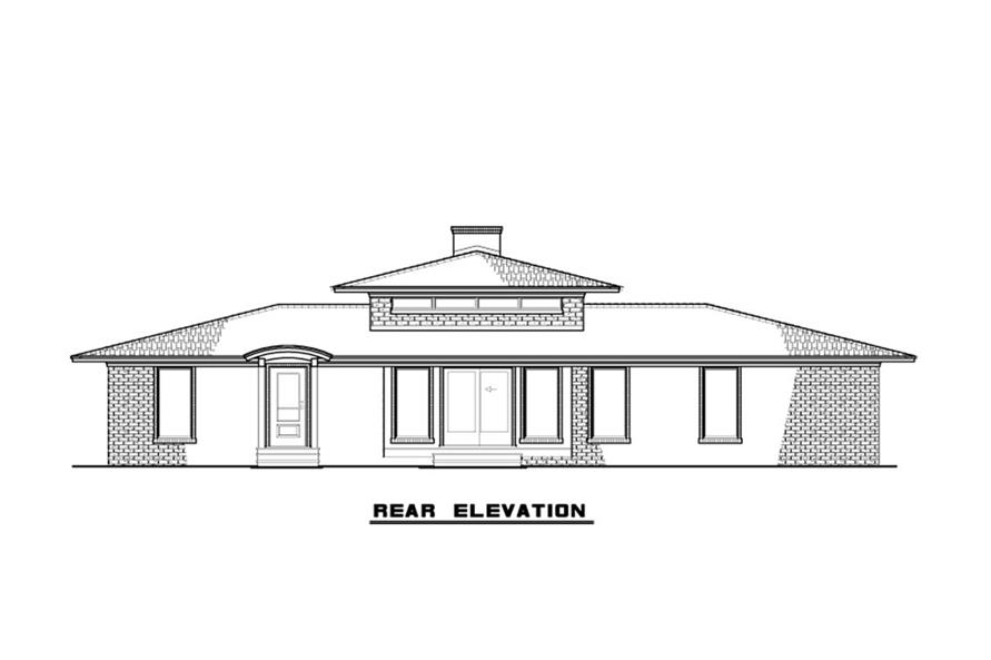Home Plan Rear Elevation of this 4-Bedroom,2005 Sq Ft Plan -193-1123
