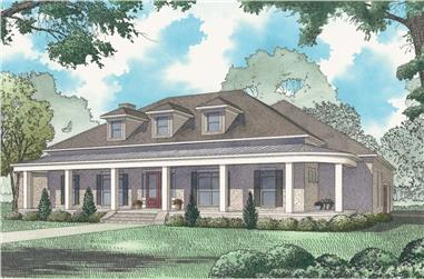 3-Bedroom, 4139 Sq Ft Country House Plan - 193-1124 - Front Exterior