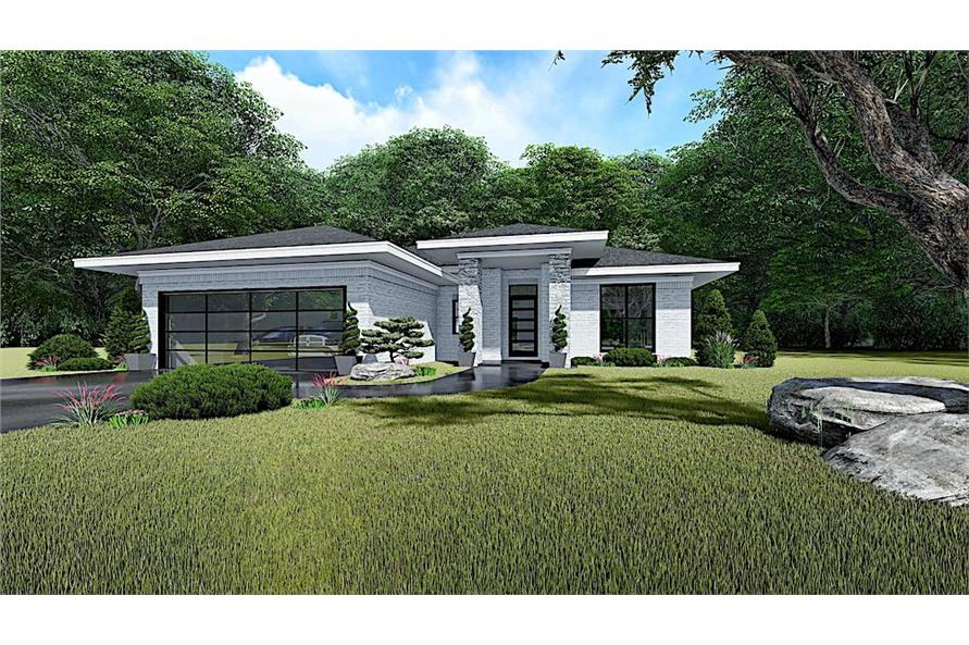 3-Bedroom, 1438 Sq Ft Contemporary House - Plan #193-1140 - Front Exterior