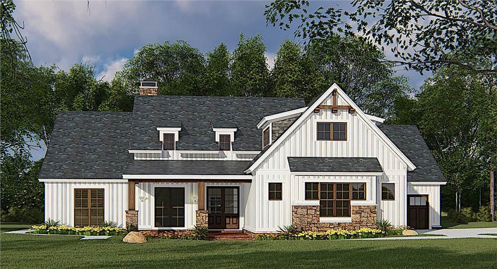 Farmhouse home (ThePlanCollection: Plan #193-1145)