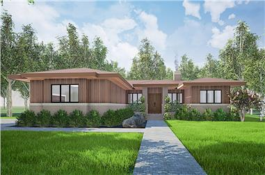 3-Bedroom, 2344 Sq Ft Contemporary Home Plan - 193-1159 - Main Exterior