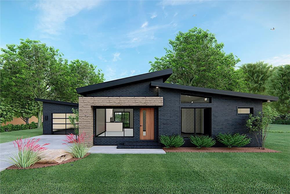 Front elevation of Contemporary home (ThePlanCollection: House Plan #193-1170)