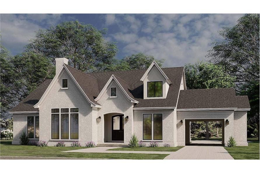 3-Bedroom, 3121 Sq Ft French Home Plan - 193-1187 - Main Exterior