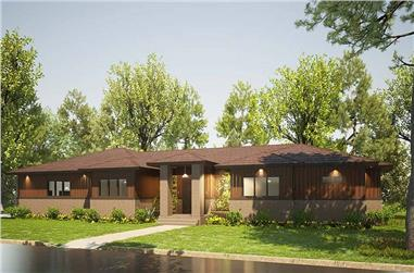 3-Bedroom, 2438 Sq Ft Contemporary House Plan - 193-1203 - Front Exterior