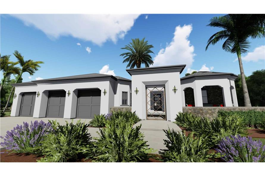 Home Plan Front Elevation of this 2-Bedroom,2380 Sq Ft Plan -194-1001