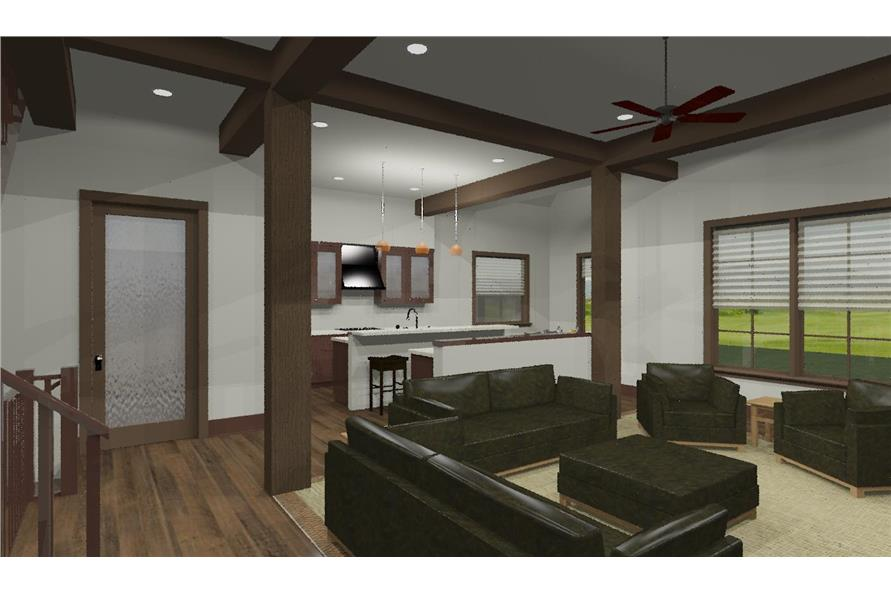 194-1002: Home Plan 3D Image-Great Room