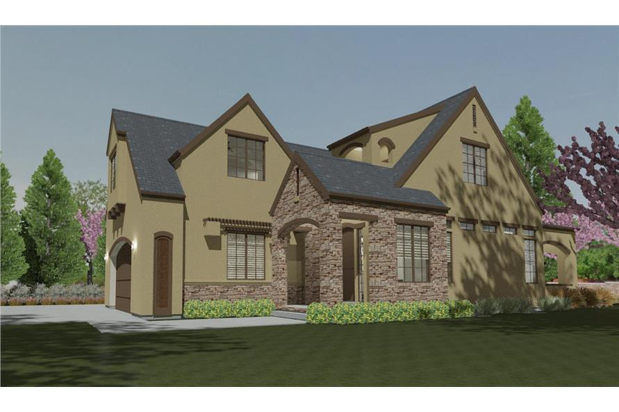 Front rendering of French home (ThePlanCollection: House Plan #194-1002)