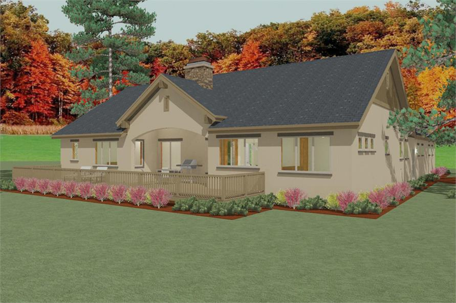 Home Plan Rear Elevation of this 3-Bedroom,2405 Sq Ft Plan -194-1004