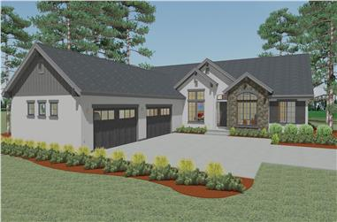 Front elevation of Ranch home (ThePlanCollection: House Plan #194-1004)