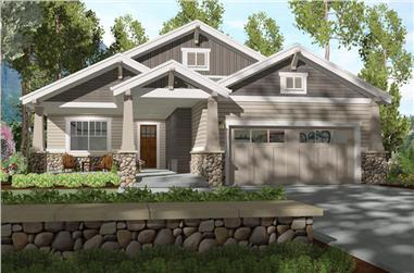 Front elevation of Craftsman home (ThePlanCollection: House Plan #194-1005)