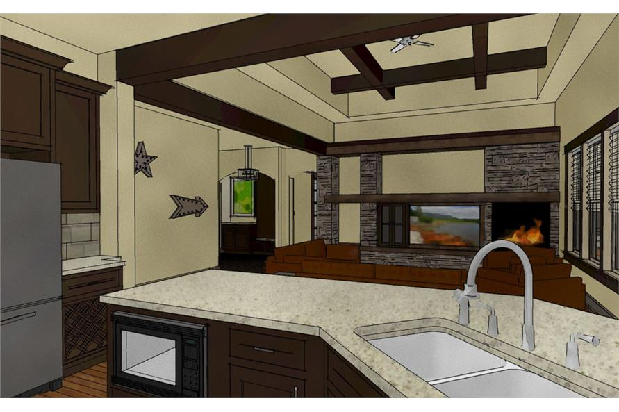194-1007: Home Plan 3D Image-Kitchen