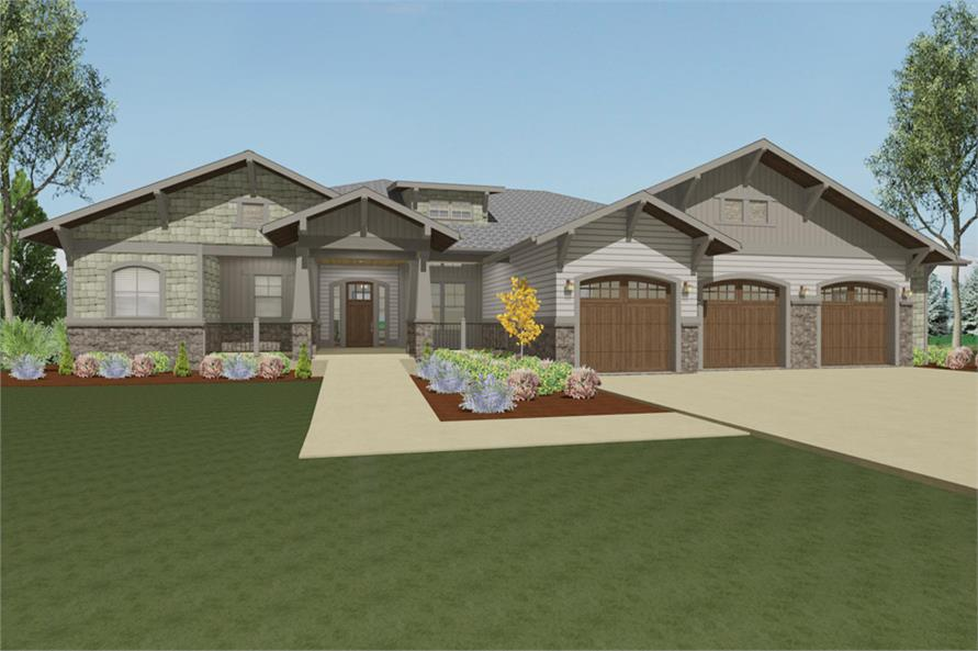 Front elevation of Luxury home (ThePlanCollection: House Plan #194-1007)
