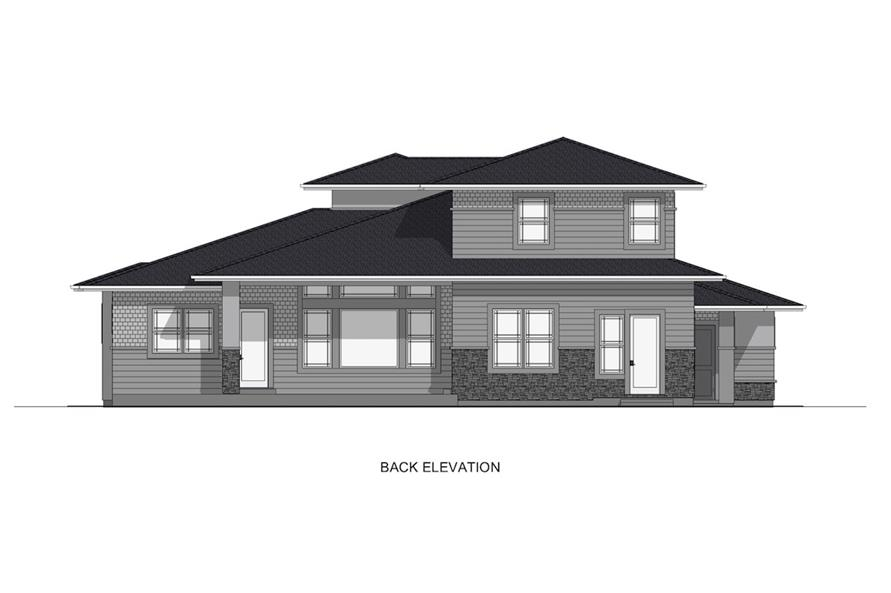 Home Plan Rear Elevation of this 4-Bedroom,2900 Sq Ft Plan -194-1008