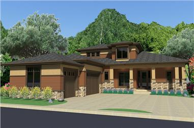 Front elevation of Luxury home (ThePlanCollection: House Plan #194-1008)