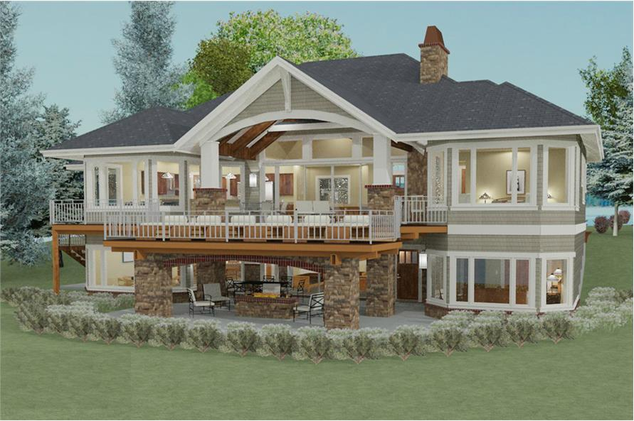 194-1010: Home Plan 3D Image-Landscaping