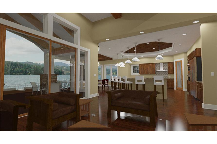 194-1010: Home Plan 3D Image-Great Room