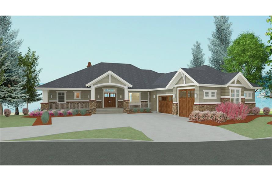 194-1010: Home Plan 3D Image-Front Door