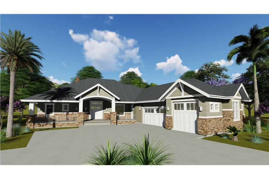 Home Plan 3D Image of this 2-Bedroom,2605 Sq Ft Plan -194-1010
