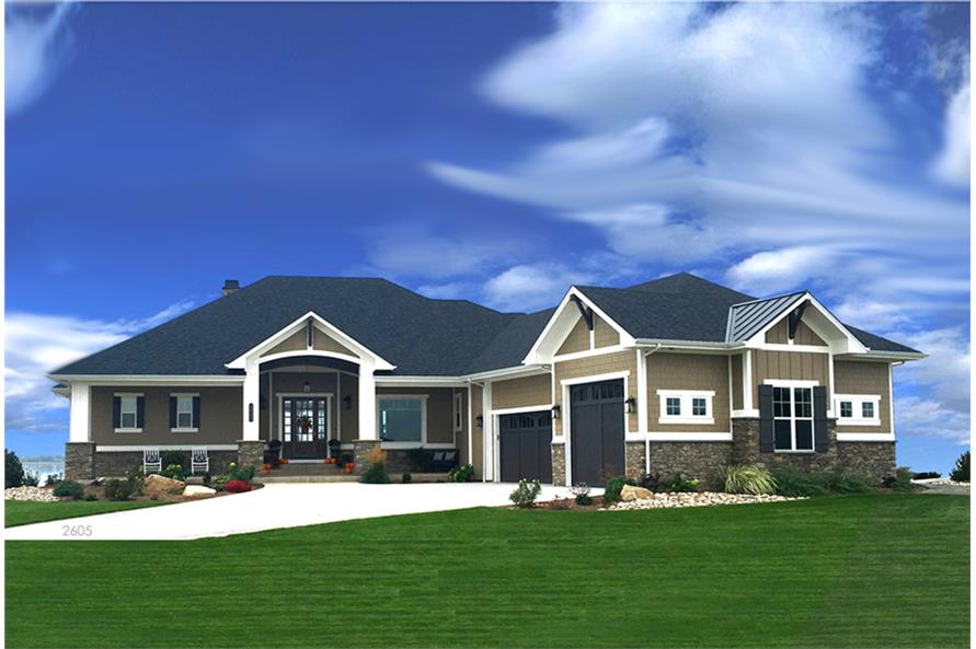 Front elevation of Craftsman home (ThePlanCollection: House Plan #194-1010)