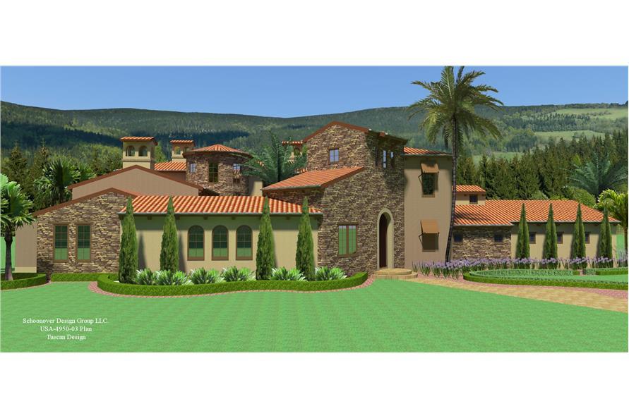194-1012: Home Plan 3D Image-Front Door