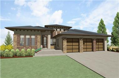 Front elevation of Luxury home plan (ThePlanCollection: House Plan #194-1014)