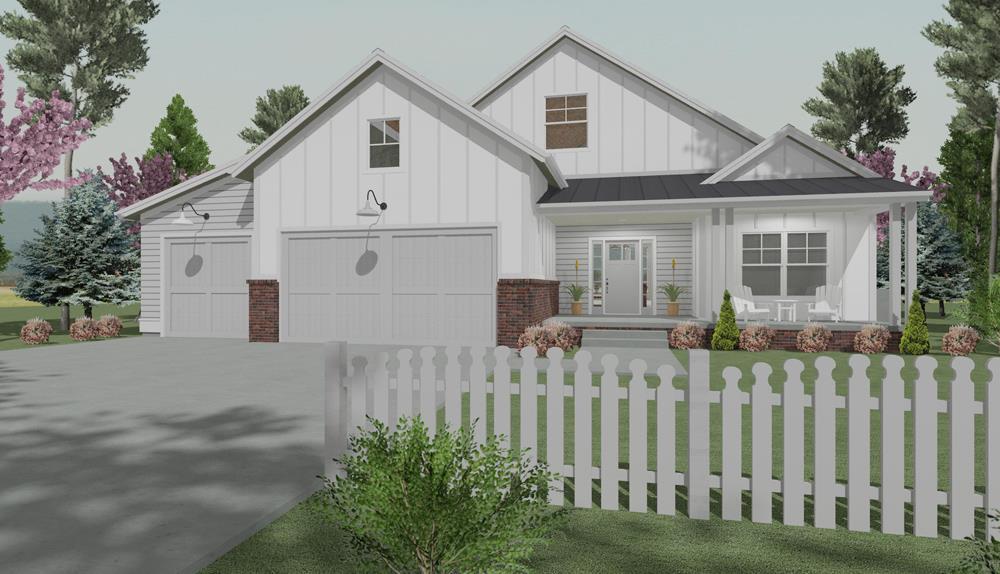 Farmhouse home (ThePlanCollection: Plan #194-1015)