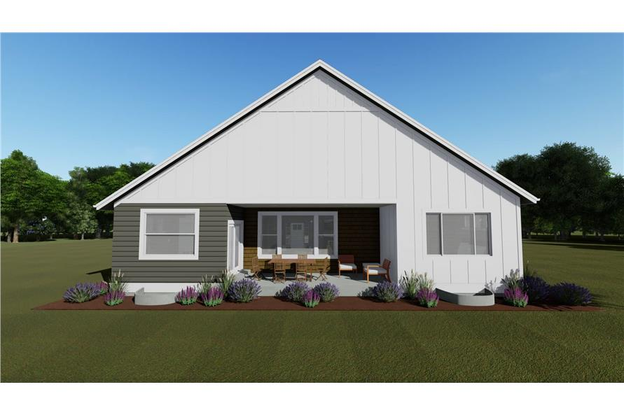 Home Plan Rear Elevation of this 2-Bedroom,1463 Sq Ft Plan -194-1016