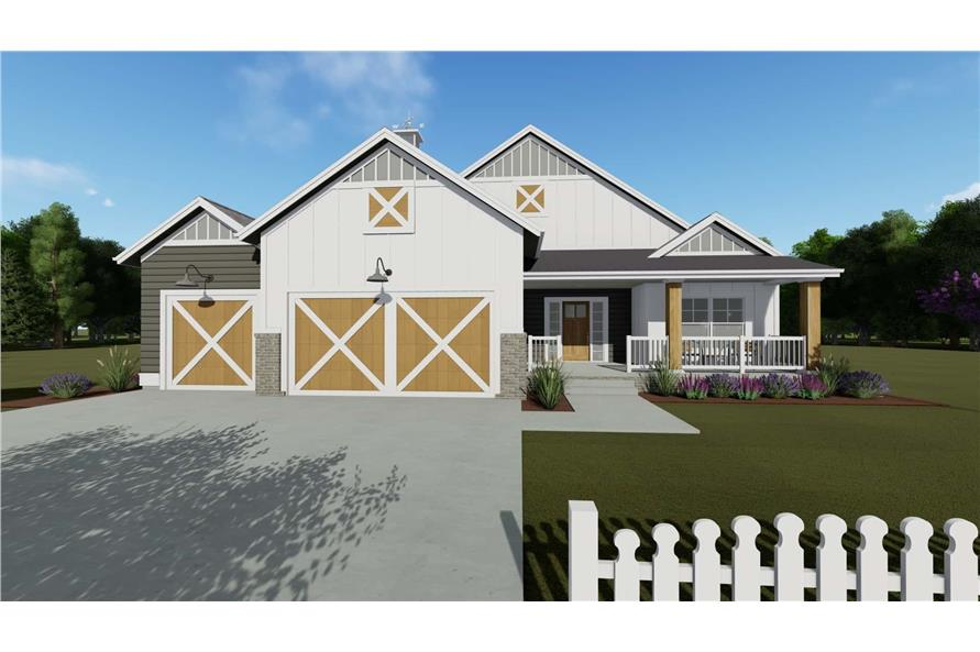 Home Plan Front Elevation of this 2-Bedroom,1463 Sq Ft Plan -194-1016