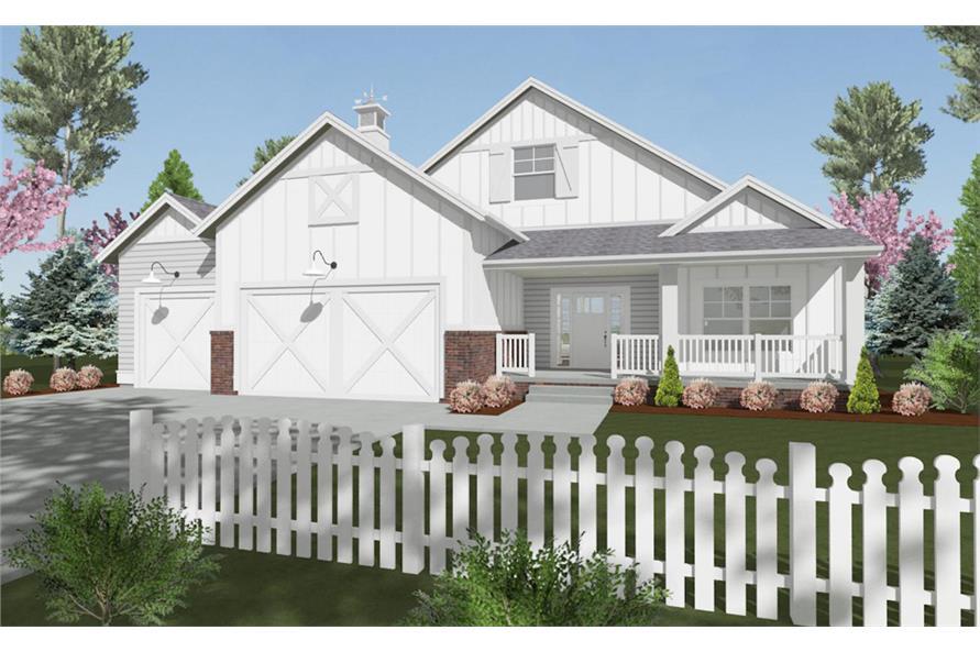 2-Bedroom, 1463 Sq Ft Farmhouse Home Plan - 194-1016 - Main Exterior