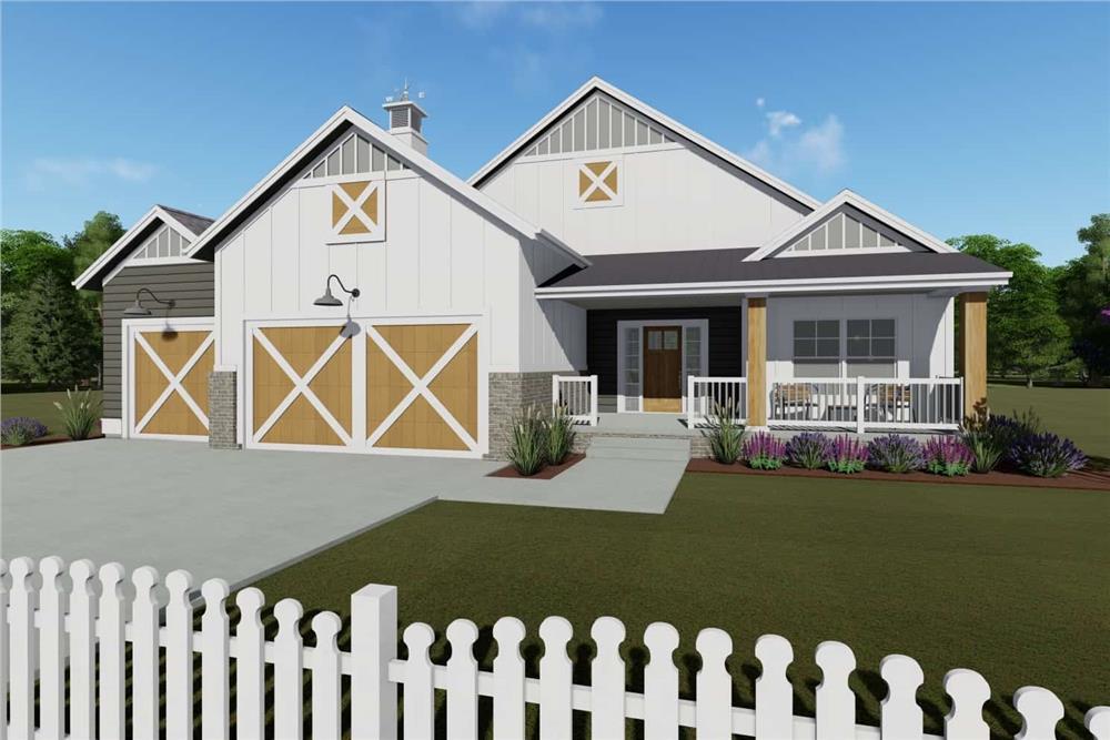 Farmhouse home (ThePlanCollection: House Plan #194-1016)