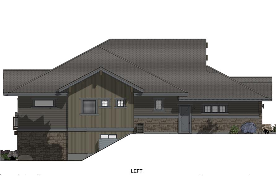 Home Plan Left Elevation of this 3-Bedroom,4254 Sq Ft Plan -194-1017