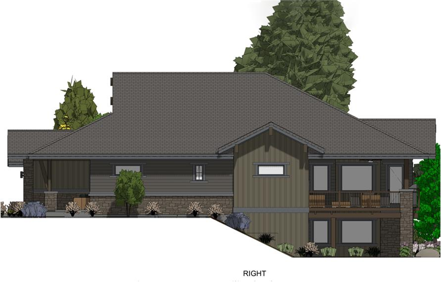 Home Plan Right Elevation of this 3-Bedroom,4254 Sq Ft Plan -194-1017