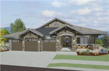 Front elevation of Craftsman home (ThePlanCollection: House Plan #194-1017)