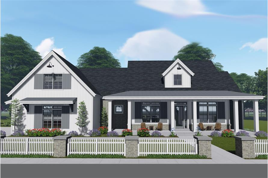 farmhouse home plan 3 bedrms 3 baths 3033 sq ft